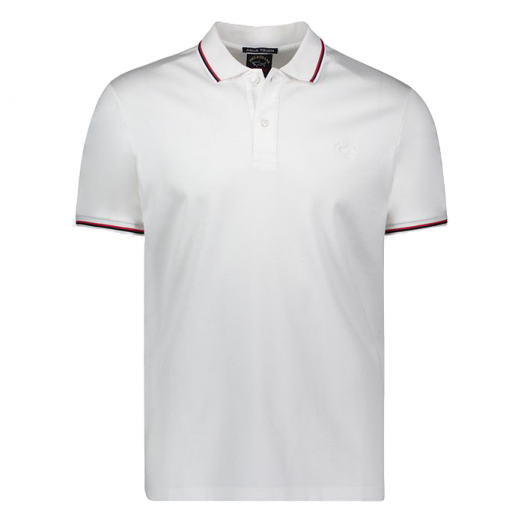 White Organic Cotton Pique Polo With Red & Navy Trim