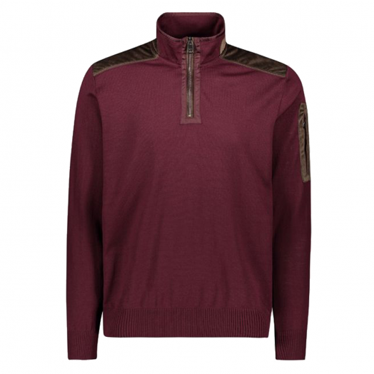 Wine Wool Half Zip Velvet Detail Sweater