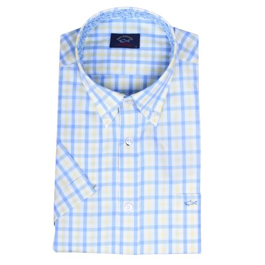 Yellow & Blue Check Collar Detail Short Sleeve Shirt