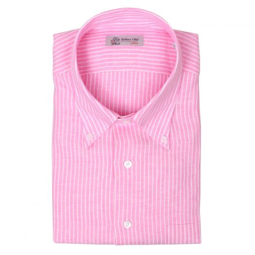 Pink & White Stripe Linen Short Sleeve Shirt