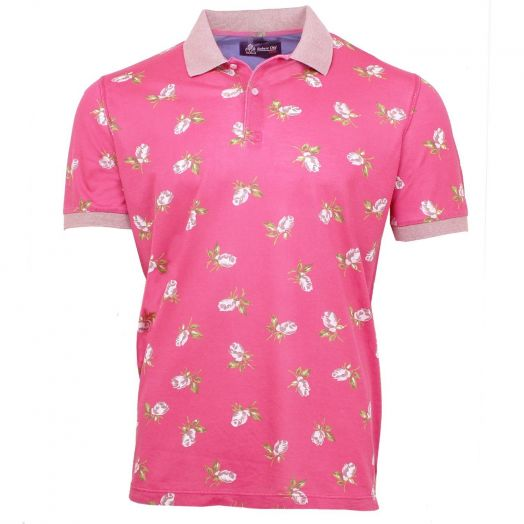 Pink Floral Piquet Polo Shirt with Contrast Collar