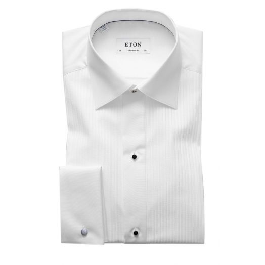 Contemporary Fit White Plisse Evening Dress Shirt
