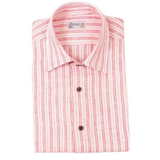 Red and White Stripe Short Sleeved Linen Shirt