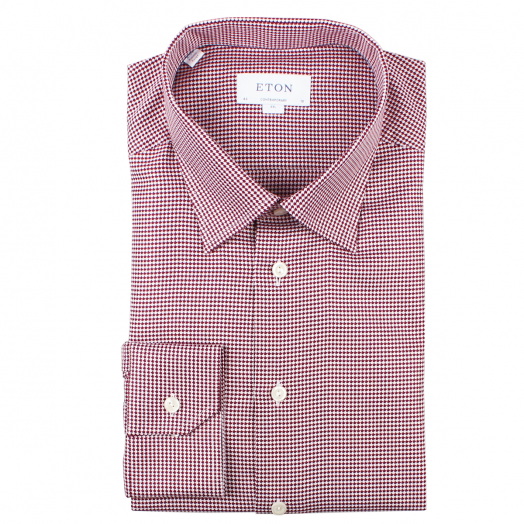 Red Dogtooth Weave Contemporary Fit Shirt