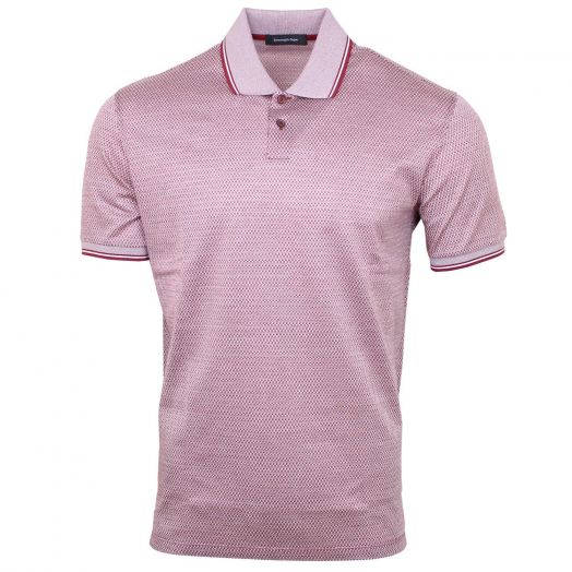 Red Jacquard Weave Cotton Polo Shirt