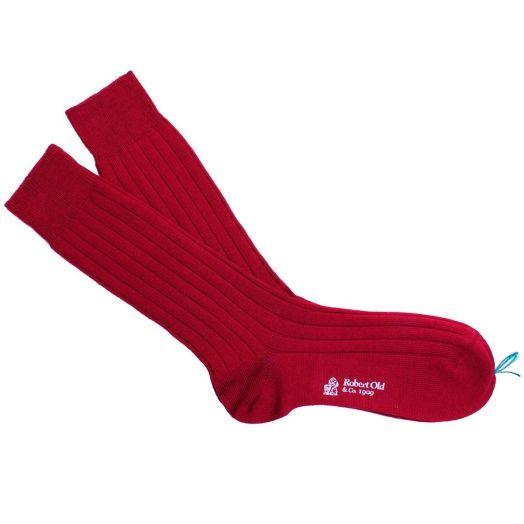 Granata Red Ribbed Wool Socks