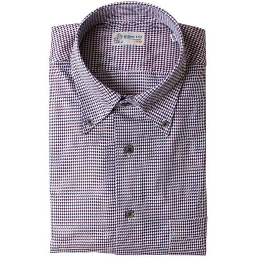 Red, White & Blue Dogtooth Print Premium Cotton Shirt