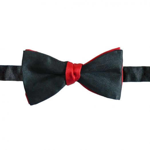 Two-tone Red and Black Bow Tie