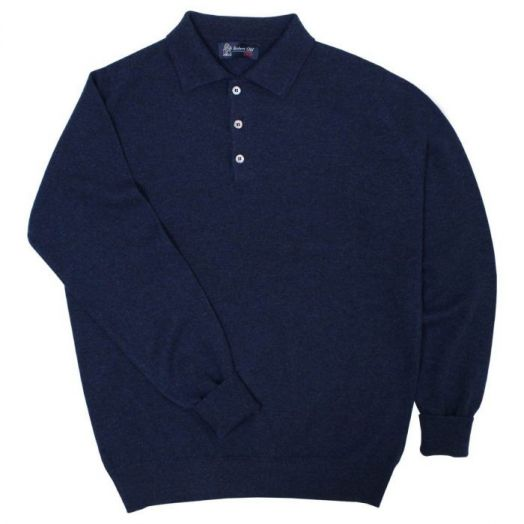 The Oban 3 button long sleeve Cashmere Polo Sweater - Cosmos