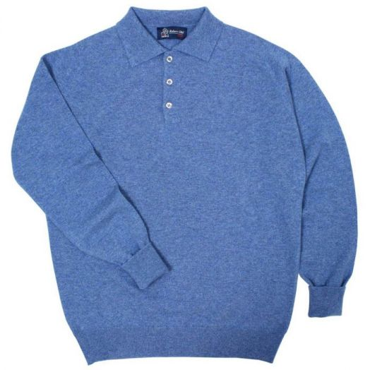 The Oban 3 button long sleeve Cashmere Polo Sweater - Lapis Blue