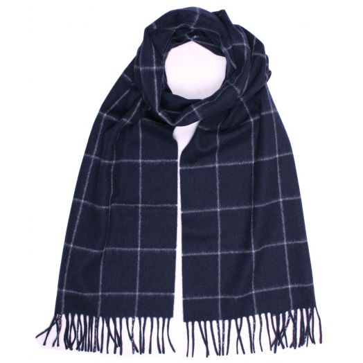 Navy 100% Pure Cashmere Windowpane Detail Scarf