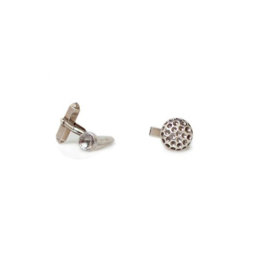 Silver Golf Ball and Tee Cufflinks