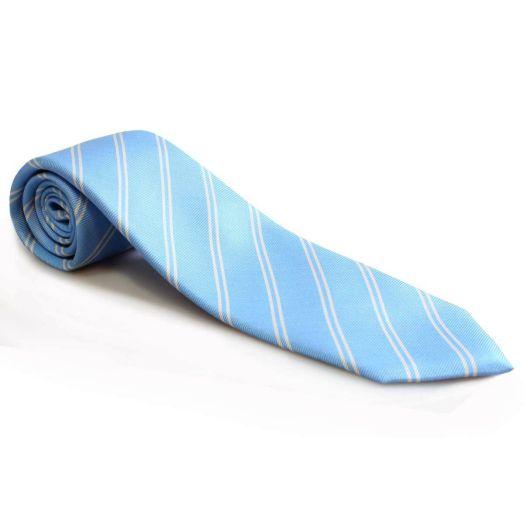Blue and Cream Stripe 7 Fold Silk Tie