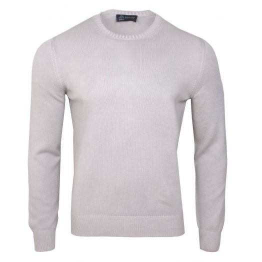 Beige Cotton Crew Neck Sweater