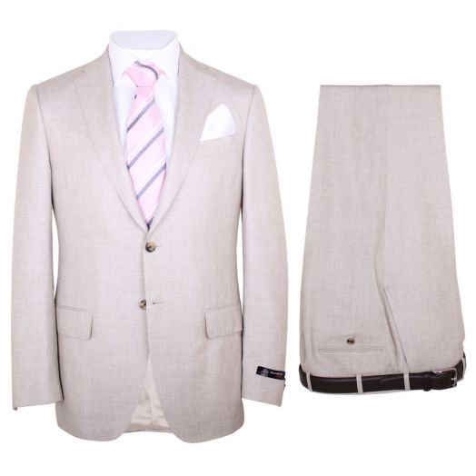 Beige Linen, Wool & Silk Two Piece Suit