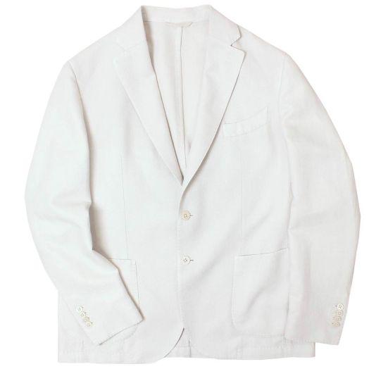 Light Beige Herringbone Cotton Linen Blazer