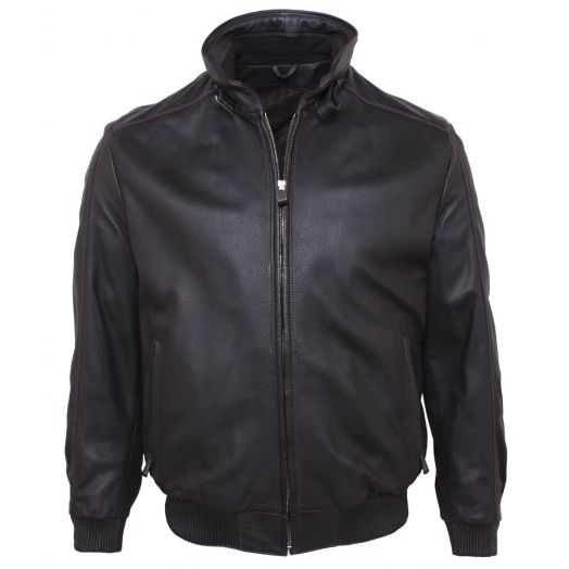 Dark Brown Bomber Style Deerskin Leather Jacket