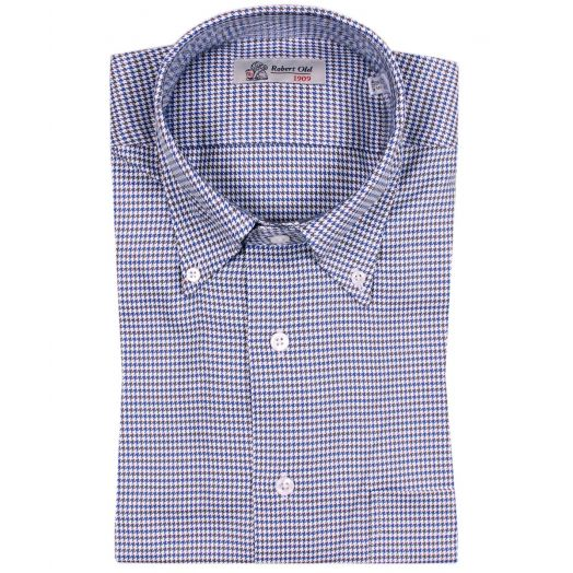 Blue & Brown Dogtooth Weave Cotton Shirt