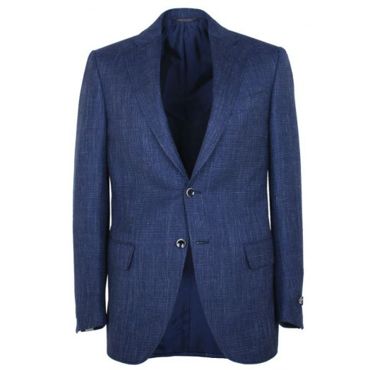 Blue Wool & Linen Textured Weave Blazer