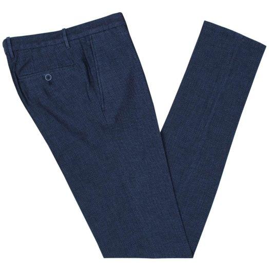 Blue Woven Cotton Lightweight Chinos