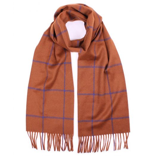 Brown and Blue Large Windowpane Check Cashmere Scarf
