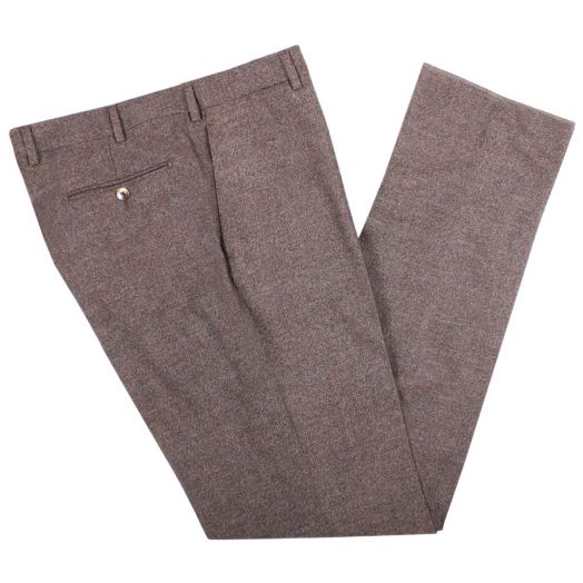 Soft Brown Merino Wool Chino Trousers
