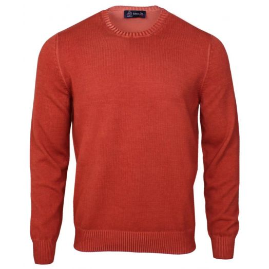 Burnt Orange Cotton Crew Neck Sweater