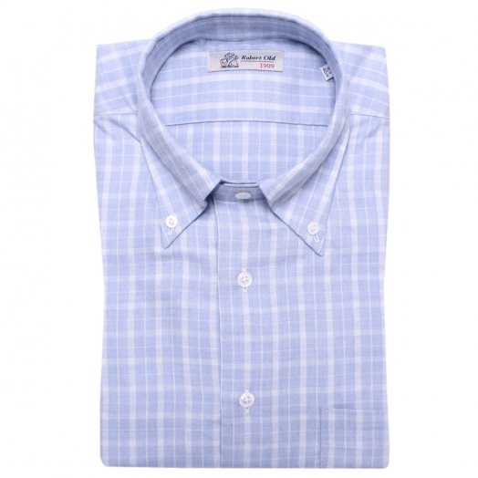 Blue and White Check Cashmerello Shirt