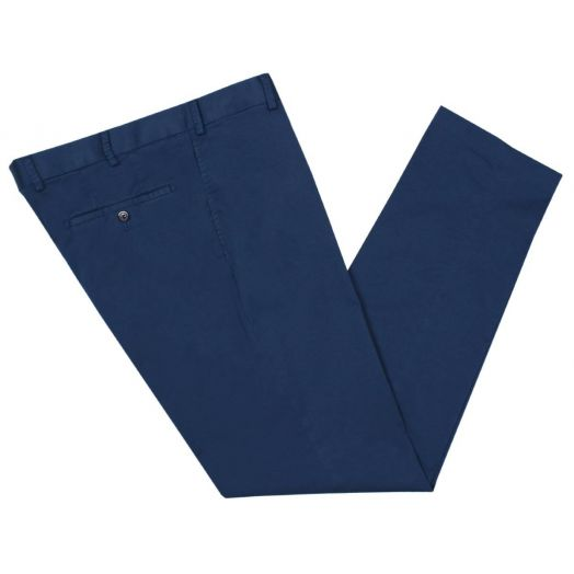 Mid Blue Cotton Contemporary Fit Chino Trousers