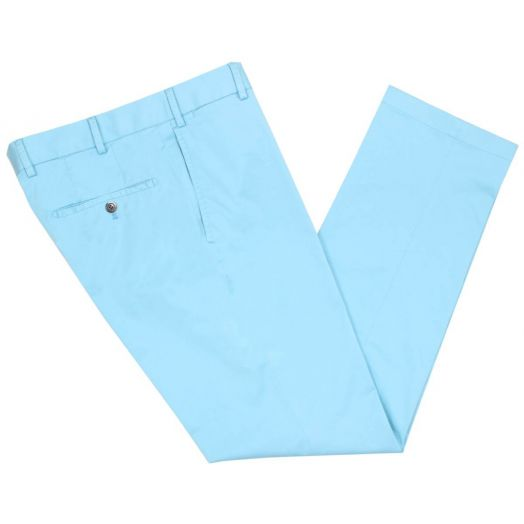 Turquoise Cotton Contemporary Fit Chino Trousers