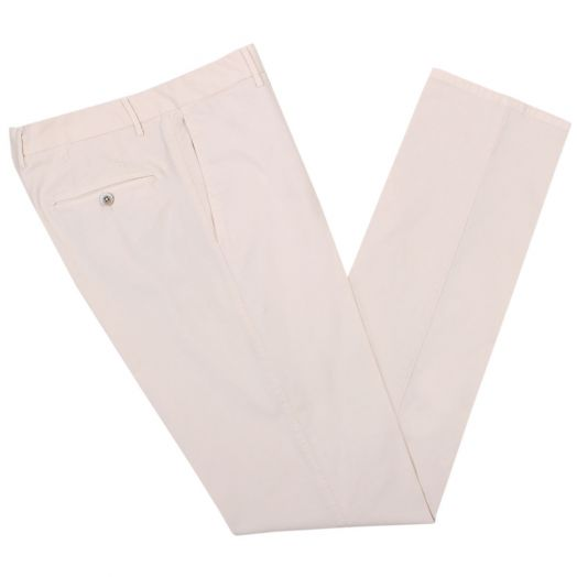 Cream Regular Fit Stretch Cotton Chino