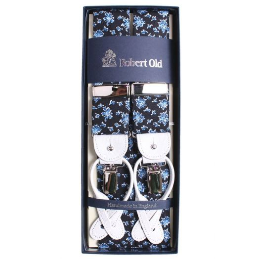 Blue Rose Print Tubed Cotton Braces
