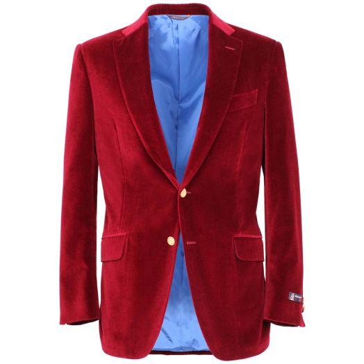 Deep Red Velvet Cotton Blazer