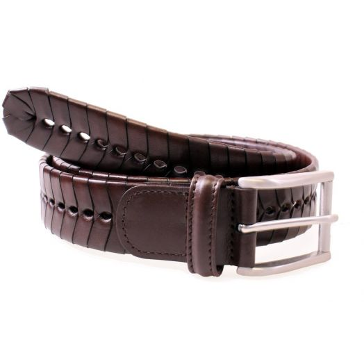 Dark Brown Calf Leather Chevron Weave Belt