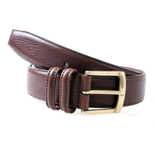 Brown Calf Leather Brass Buckle Belt