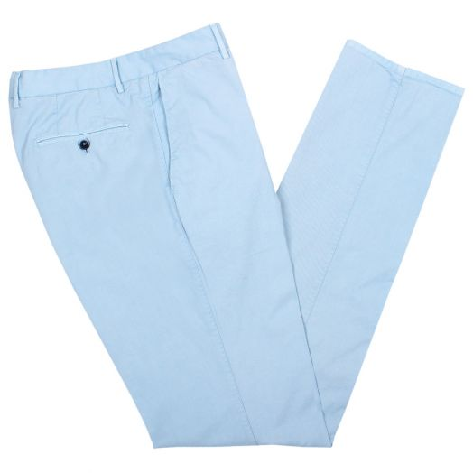 Light Blue Cotton Regular Fit Chino Trousers