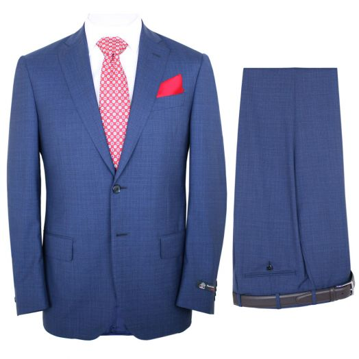 Mid Blue Fresco Check Merino Wool Two Piece Suit