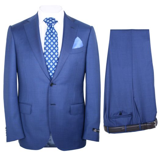 Classic Blue Merino Wool Two Piece Suit