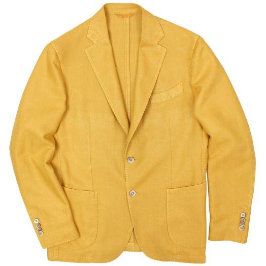 Mustard Herringbone Cotton and Linen Blazer