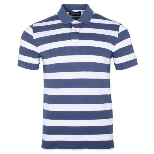 Navy & White Stripe 100% Cotton Polo Shirt