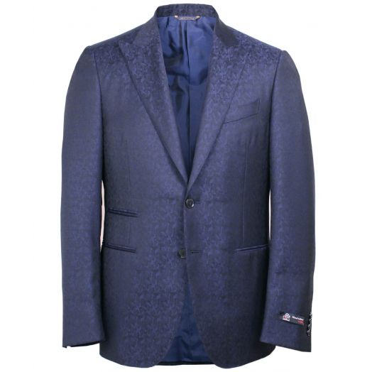 Navy and Blue Weave Wool Blazer