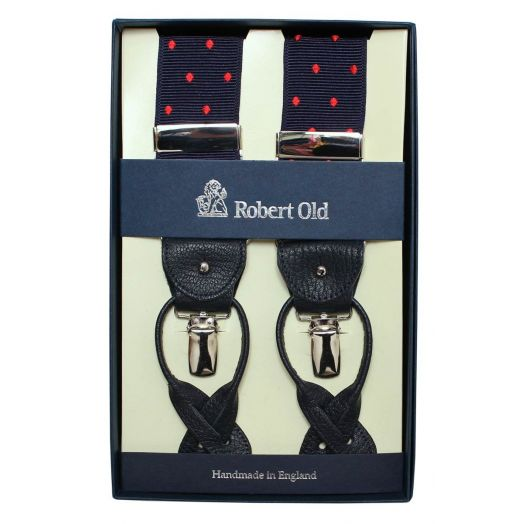 Navy And Red Dot Silk Braces