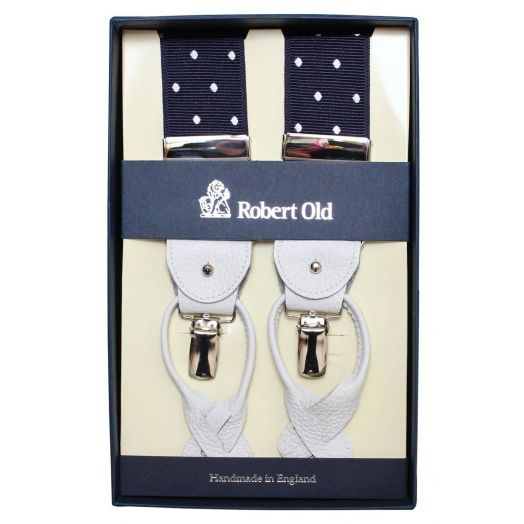 Navy and White Dot Silk Braces
