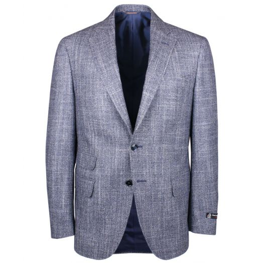 Navy & White Merino Wool Textured Weave Blazer