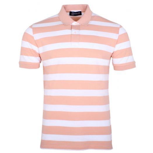 Orange & White Stripe 100% Cotton Polo Shirt