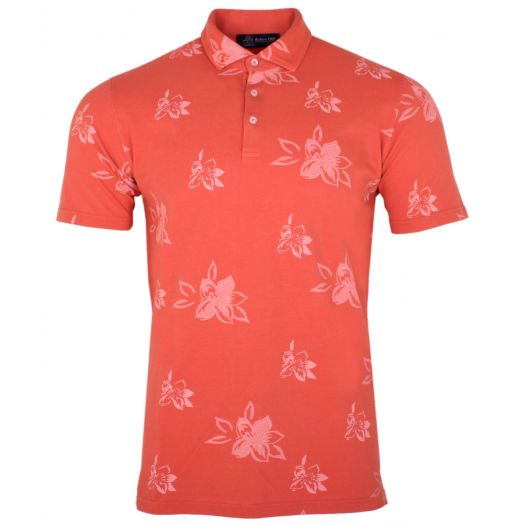 Orange With White Floral Motif Cotton Polo Shirt