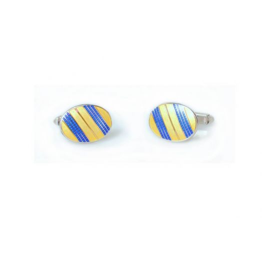 Gold and Royal Blue Oval Cufflinks