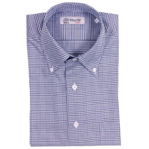 Blue & White Dogtooth Check Cotton Shirt