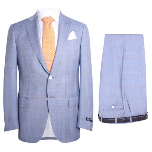 Blue Prince Of Wales Check Two Piece Suit