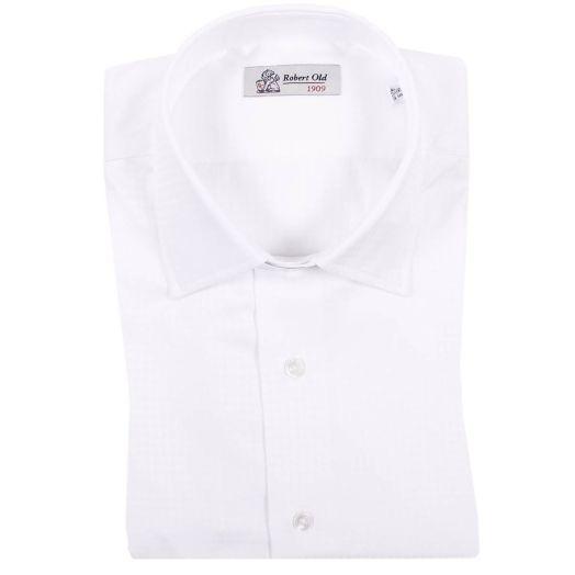 White Premium Cotton Geometric Weave Shirt
